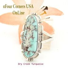 Size 7 1/2 Dry Creek Turquoise Sterling Ring Navajo Artisan Larry Moses Yazzie NAR-1738 Four Corners USA OnLine