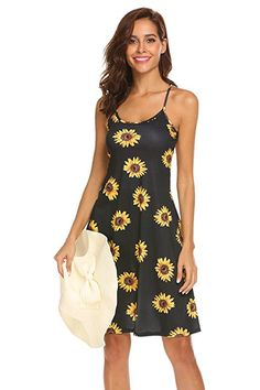 75c472ff763b Naggoo Womens A-Line Floral Print Sleeveless Strappy Beach Dress |Summer  Outfits Casual Dresses