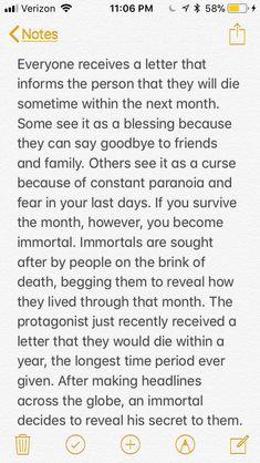 Immortal, death, letter, apprentice, secret Writing prompt