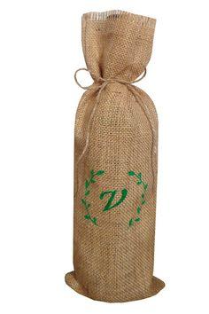 23a704927 Artículos similares a Sacos para botellas con monograma personalizado bolsa  de yute para botella de vino bolsa de arpillera personalizada para botellas  en ...