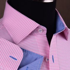 Pink Houndstooth Dress Shirt Retro B2B Plaids & Checks Mens Semi Formal Business | eBay