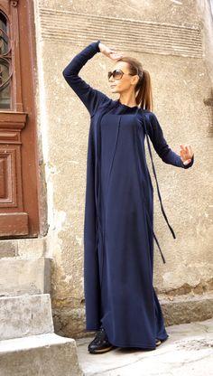 New 2016 Spring Maxi Dress / Navy Blue Kaftan Cotton Dress /Side Pockets Dress / Extravagant Cotton Party Dress /Daywear Dress Will Turner, Cotton Tunics, Cotton Dresses, Kaftan, Models, Overall, Navy Blue Dresses, Party Dress, Elegant