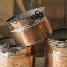 old copper pot set