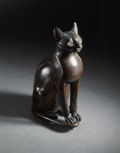 Figurine of the Goddess Bastet as a Cat | Egypt, Late Period, 712-332 B.C. Sculpture. Bronze