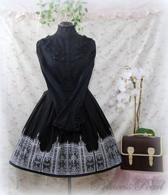 Gothic Lolita skirt: Iron Gate Skirt - black x white. $80.00, via Etsy.