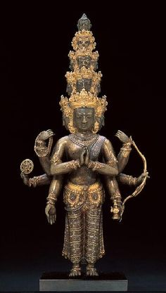 Bodhisattva Avalokiteshvara with Eleven Heads, Tibet, 1475-1525  Gilt bronze with copper, gold and silver inlay and pigment