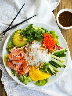 20 rice noodle recipes, like Curry Salmon Noodle Bowl, that you need to make immediately.