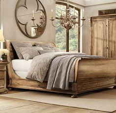 RH's St. James Sleigh Bed With Footboard:Evoking the architectural classicism of turn-of-the-century design, St. James is grand in both scale and beauty.