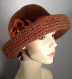 Rust Felted Brim Hat by yoursbydesign on Etsy