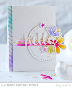 Floral Hello Card by Betsy Veldman featuring the Build-able Bouquet stamp set and Die-namics, the Lined Chevron Background stamp, and the Hello There Die-namics #mftstamps