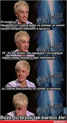 Harry Potter interview with Tom Felton, actor of Draco Malfoy Harry Potter Interviews, Harry Potter Jokes, Harry Potter Cast, Harry Potter Fandom, Harry Potter World, Harry Potter Ships, Tom Felton, Drarry, Dramione