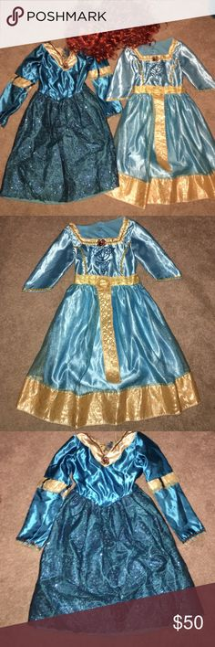 GIRLS Merida Brave Costume Set with Wig Be Brave!!  Disney Brave Costume dresses and wig for sale!! Beautiful dresses and in great condition! Let your little brave princess's imagination soar!! Perfect for playing dress up or Halloween! Disney Costumes