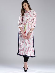 White & Pink Viscose 3/4th Sleeves Printed Straight Kurta  #Kurta #White #Pink #Viscose #3/4th Sleeves