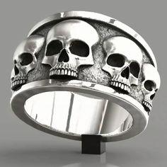 Handmade skull rings made of sterling silver. Biker jewelry, rings for men. Men's Jewelry Rings, Skull Jewelry, Gothic Jewelry, Sea Glass Jewelry, Jewelry Accessories, Fine Jewelry, Geek Jewelry, Silver Necklaces, Sterling Silver Jewelry