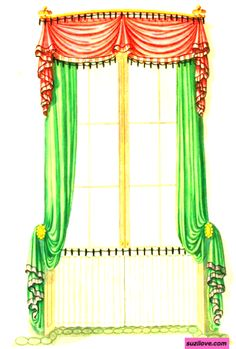 Red and Green Drapery. From: 1793  Cabinet Maker's and Upholsterer's Drawing Book By Thomas Sheraton. via google Books (PD-200)   suzilove.com