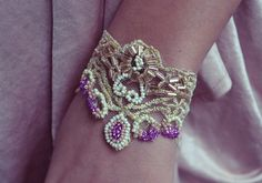 DIY Beaded Gold Lace Bracelet by allgoodgirlsgotoheaven