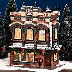 """Department 56 Snow Village """"Frost And Sons 5 & Dime""""Interior Scene Department 56 Christmas Village, Lemax Christmas Village, Dept 56 Snow Village, Halloween Village, Christmas Villages, Halloween Labels, Vintage Halloween, Halloween Crafts, Spooky Halloween"""
