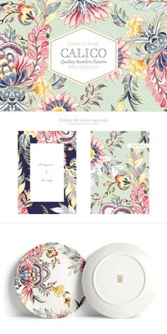 Calico, Exquisite Watercolor by Pink Linen on Graphic Patterns, Print Patterns, Packaging Design, Branding Design, Zentangle, Motif Floral, Pattern Illustration, Surface Pattern Design, Repeating Patterns