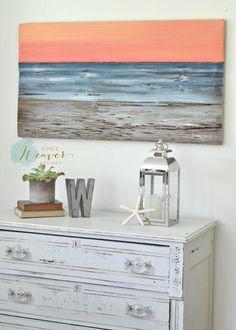"""Sunset on the Bay"" Original Painting using reclaimed wood by Aimee Weaver Designs / ocean painting using reclaimed wood"