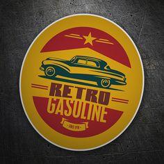 Pegatinas: Retro Gasoline #coche #pegatina #sticker