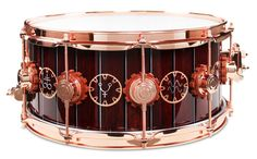 Neil Peart's 'Time Machine' Snare - Custom steampunk lacquer finish featuring copper leaf-applied graphics and hand airbrush work, gear-shaped lug gaskets with custom Copper Hardware