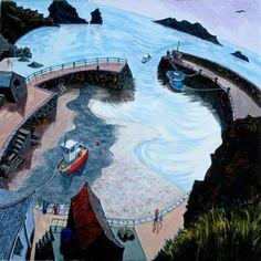 View the painting: Mullion Cove, Lizard Peninsular by Francis Farmar Seaside Art, British Seaside, Seaside Towns, John Galliano, Steve Madden, Naive Art, Artist At Work, Cornwall, Painting & Drawing