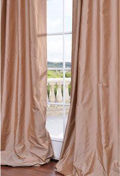 Flamingo Pink Faux Silk Taffeta Curtain   Girl's Bedroom ...