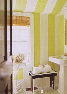 Bold striped bathroom from House Beautiful