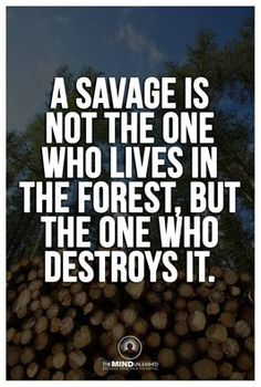 A  savage is not the one who lives in the forest.
