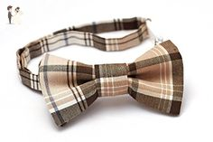 Brown Bowtie Boys - Brown Bow Tie for Kids - Boys Bow Tie Brown Plaid - Brown/Tan Plaid - Sizing up to 9 years old - Groom fashion accessories (*Amazon Partner-Link)