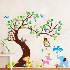 Monkey elephant tree wallstickers kids bedroom playroom nursery