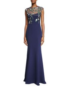TC8TR Monique Lhuillier Embroidered-Bodice Mermaid Gown, Navy
