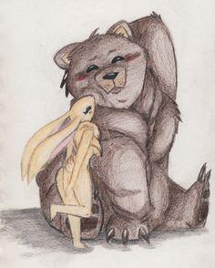 Bear and Bunny by RoxxeGurl on deviantART