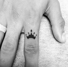 Crown Finger Tattoo by Oz Rozenberg