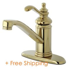 """Single Handle 4"""" Centerset Lavatory Faucet with Push-Up & Optional Deck Plate Polished Brass KS3402TL"""