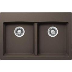 Buy Here: http://thd.co/1RydfD5 SCHOCK INSPIRE INPN200T063 Top Mount Composite 31 in. 0-Hole 50/50 Double Bowl Kitchen Sink in Mocha #kitchensink #kitchensinks #kitchen #sinks #schock #granitesink