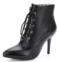 IDIFU Women's Sexy Pointed Toe Stiletto Lace Up Short Ankle Boots Booties High Heels ** Discover this special boots, click the image : Ladies boots