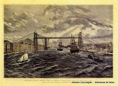 Puente Bizkaia en un grabado al acero, 1888