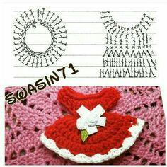 54 Ideas For Crochet Doll Dress Stitches Crochet Bookmark Pattern, Crochet Bookmarks, Crochet Chart, Crochet Motif, Crochet Stitches, Crochet Patterns, Crochet Bunny, Cute Crochet, Crochet Flowers