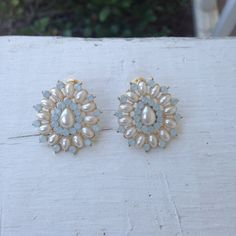 Pearl and Blue Statement Stud Earrings...only $14!!!