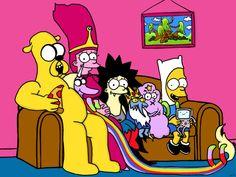 Adventure Time Simpsons Mashup Print