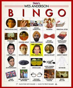 Wes Anderson Bingo, Grand Budapest Hotel edition: Play along with the new movie using our new and improved board generator.