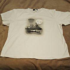 Las Vegas  New moon face short sleeve shirt White short sleeve shirt from Las Vegas slim fit the venetian Tops Tees - Short Sleeve