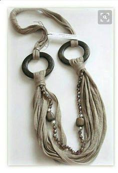 Tülbentli kolye T Shirt Necklace, Yarn Necklace, Fabric Necklace, Scarf Jewelry, Textile Jewelry, Fabric Jewelry, Ring Necklace, Leather Jewelry, Beaded Necklace