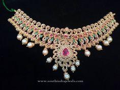 Uncut Diamond Choker Sets, Gold Uncut Diamond Choker Designs, Latest Uncut Diamond Choker Sets.