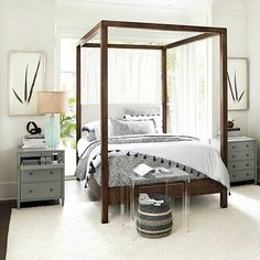 Contemporary Master Bedroom with Mill Upholstered Parsons Bed, Felicity Acrylic Rectangular Side Table, Round Raffia Basket Romantic Master Bedroom, Master Bedroom Design, Large Bedroom, Bedroom Sets, Home Bedroom, Bedroom Decor, Bedrooms, Bedroom Photos, Bedroom Carpet