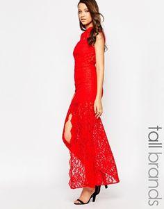 Jarlo Tall | Jarlo Tall High Neck Lace Maxi Dress at ASOS
