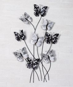 Black u0026 White Metal Butterfly Wall Art, $25