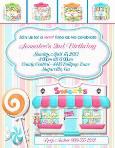 Deb's Party Designs - Candy Shop Birthday Invitation, $1.00 (http://www.debspartydesigns.com/candy-shop-birthday-invitation/)
