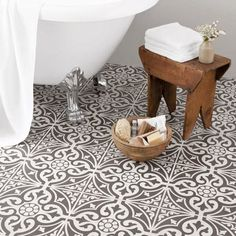 Bathroom - white and light with patterned floor. Victorian inspired floor tiles for my kitchen BCT Tiles – 9 Devonstone Grey Feature Floor Tiles – – Bathroom Tile Designs, Bathroom Floor Tiles, Bathroom Renos, Small Bathroom, Master Bathroom, Tiled Bathrooms, Wall Tiles, Tub Tile, Tiling